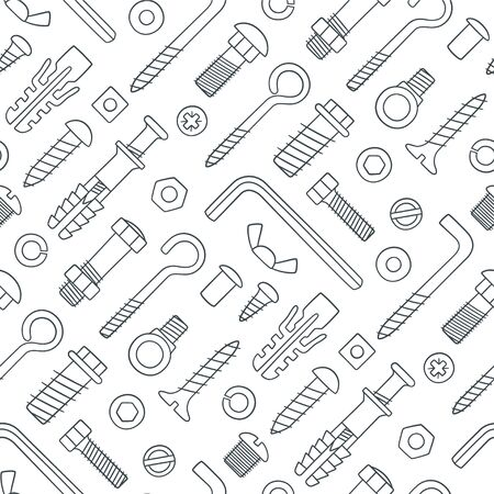 Seamless pattern of fasteners. Bolts, screws, nuts, dowels and rivets in doodle style. Hand drawn building material. Black and white vector illustration on white background