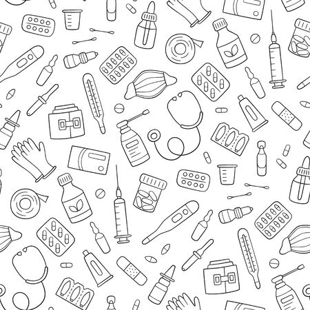 Seamless doodle pattern with medications, drugs, pills, bottles and health care medical elements. Hand drawn vector illustration on white background
