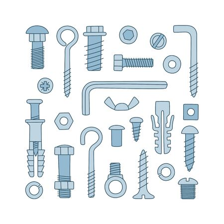 Set of fasteners. Bolts, screws, nuts, dowels and rivets in doodle style. Hand drawn building material. Color vector illustration on white background