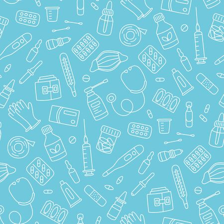 Seamless doodle pattern with medications, drugs, pills, bottles and health care medical elements. Hand drawn vector illustration on blue background 일러스트