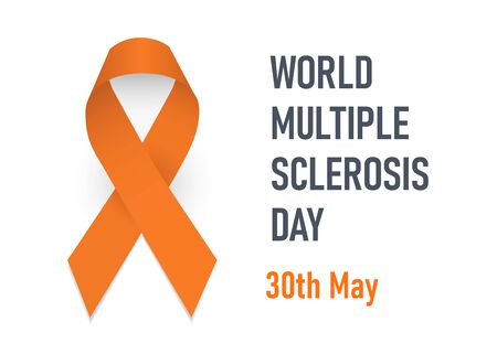 World multiple sclerosis day. Orange awareness ribbon. Symbol of disseminated sclerosis. Isolated vector illustration on white background