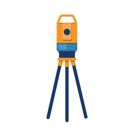 Theodolite tripod. Surveying instrument. Geodetic optical measuring laser level devices. Isolated vector illustration in flat style on white background