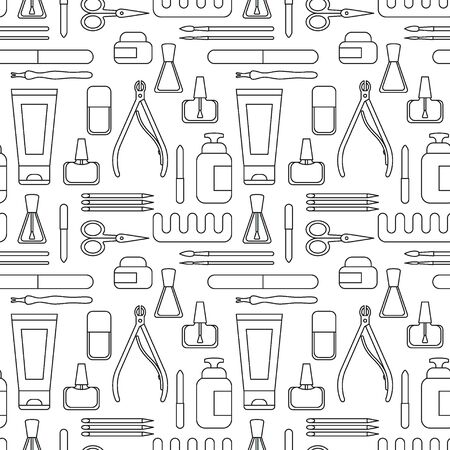 Manicure tools and accessories. A set of elements on the topic of nail manicure. Seamless pattern. Vector illustration in line minimal style. Black and white