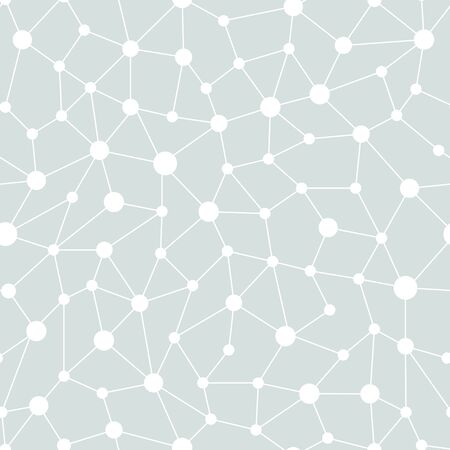 Neural network seamless pattern. Neural network of nodes and connections. Vector illustration on gray background Vettoriali