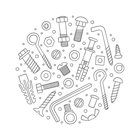 Set of fasteners in circle. Bolts, screws, nuts, dowels and rivets in doodle style. Hand drawn building material. Vector illustration on white background