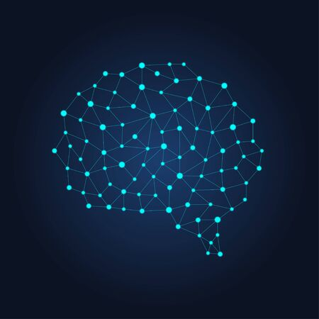 Digital human brain from nodes and connections. Futuristic neural network. Vector geometric illustration on dark background Vector Illustration