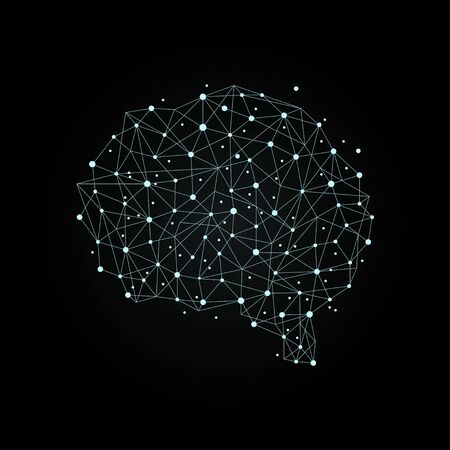 Human brain from nodes and connections as a symbol of thinking. Neural network. Vector concept on dark background