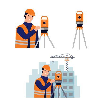 Surveyor, cadastral engineer, cartographer and theodolite. Set of vector illustration in flat style on white background Vector Illustration