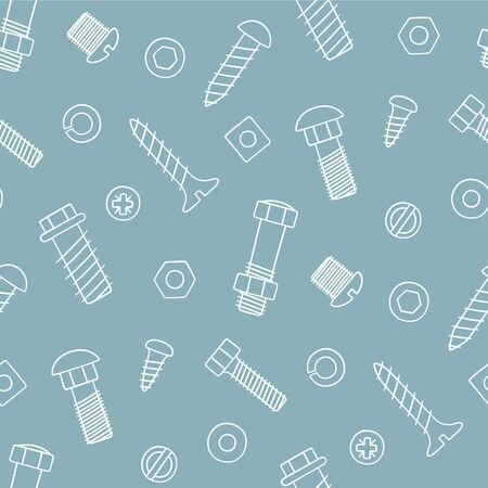 Seamless pattern of fasteners. Bolts, screws and nuts in doodle style. Hand drawn building material. Vector illustration