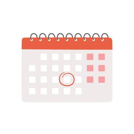 Calendar with selected date. Isolated vector illustration on white background