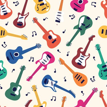 Seamless pattern of acoustic and electric guitars on light background. String musical instruments on cute flat cartoon style. Vector illustration