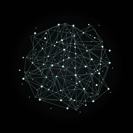 Abstract dynamic spot of nodes and lines for medicine, science, technology, chemistry. Neural network. Vector concept on dark background