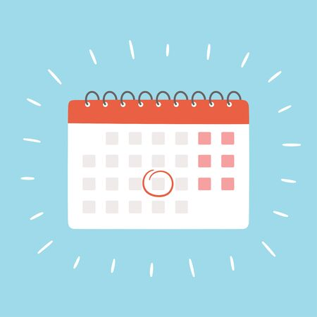 Calendar with selected date. Isolated vector illustration
