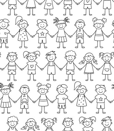 Seamless pattern of funny kids holding hands. Friendship concept. Happy cute doodle children. Vector illustration in hand drawn style on white background