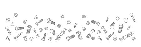 Background with fasteners. Bolts, screws, nuts, dowels and rivets in doodle style. Hand drawn building material. Vector illustration on white background 벡터 (일러스트)
