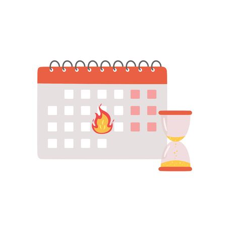 Deadline banner. Calendar with a burning date and hourglass as a symbol of the finish of an important project. Vector illustration