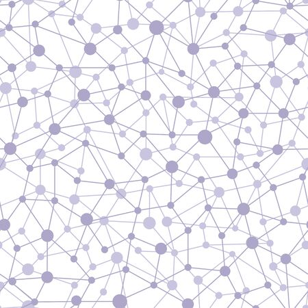 Neural network of nodes and connections. Abstract dynamic seamless pattern. Vector illustration on white background