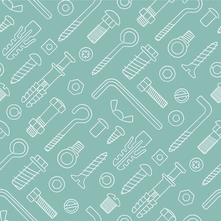 Seamless pattern of fasteners. Bolts, screws, nuts, dowels and rivets in doodle style. Hand drawn building material. Vector illustration Иллюстрация