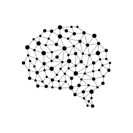 Human brain from nodes and connections as a symbol of thinking. Neural network. Isolated vector illustration on white background