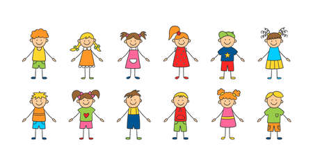 Set of funny children. Happy cute doodle kids. A set of isolated characters. Vector illustration in hand drawn style on white background Иллюстрация