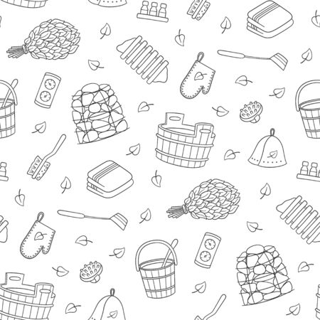Bathhouse and Sauna accessories - washer, broom, tub, bucket, potholders, stones and other. Hand drawn seamless pattern. Vector illustration in doodle style on white background.