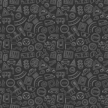 Cars, road objects, traffic signs and automobile symbols. Seamless pattern in doodle style. Hand drawn vector illustration. Chalkboard Illusztráció