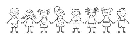 Group of funny kids holding hands. Friendship concept. Happy cute doodle children. Isolated vector illustration in hand drawn style on white background Иллюстрация