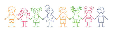Group of funny kids holding hands. Friendship concept. Happy cute doodle children. Isolated color vector illustration in hand drawn style on white background