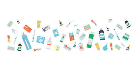 Flyer for the pharmacy with medications, drugs, pills and bottles. Isolated vector illustration in flat style on white background