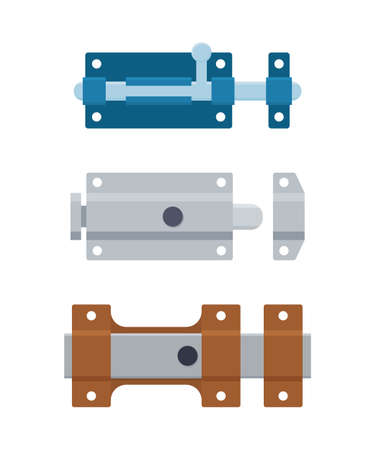 Set of metal door bolts and latches. Steel safety hardware. Vector illustration in flat style on white background.