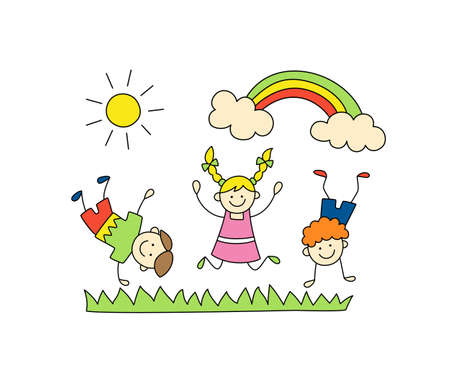 Fun children play outdoors. Cute doodle kids, sun and rainbow. Hand drawn vector illustration on white background