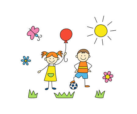 Fun kids play outdoors. Cute doodle boy with ball and girl with balloon. Hand drawn vector illustration on white background Иллюстрация
