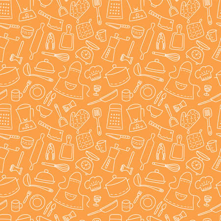 Kitchen tools and tableware. Cook. Seamless pattern. Hand drawn vector illustration in doodle style on orange background.
