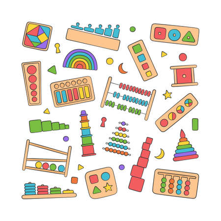 Hand drawn kid toys for Montessori games. Education logic toys for preschool children. Montessori system for early childhood development. Set of vector objects in doodle style on white background Иллюстрация