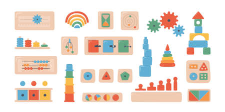 Montessori kid toys and boards. Wooden toys for preschool children. Montessori system for early childhood development. Set of vector objects on white background