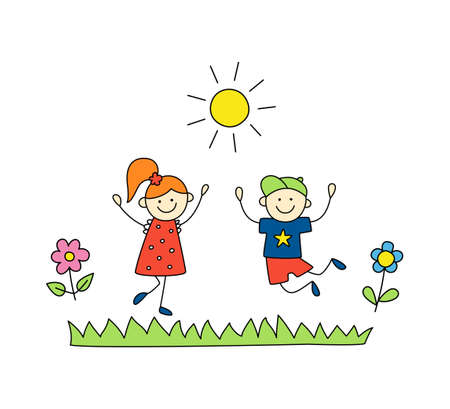 Fun children play outdoors. Cute doodle boy and girl jump. Hand drawn vector illustration on white background