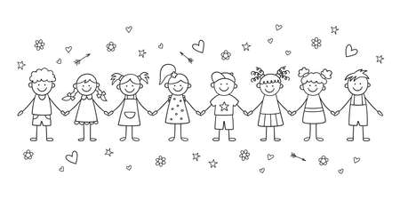 Group of funny children holding hands. Happy cute doodle kids. Isolated vector illustration in hand drawn style on white background Иллюстрация