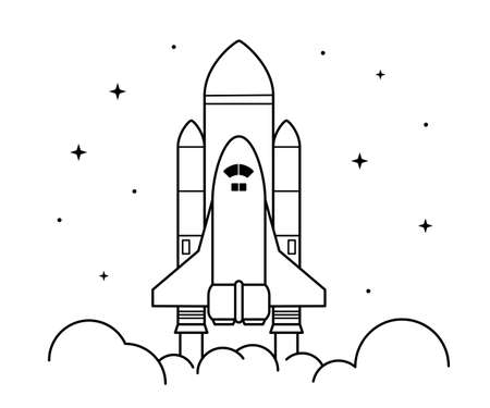 Space rocket launch. Technology spaceship, science and shuttle. Symbol of successful start. Vector illustration in linear style. Isolated on white background