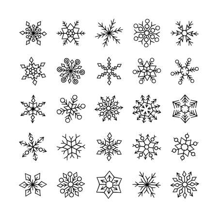 Cute winter snowflakes collection isolated on white background. Vector illustration in doodle style