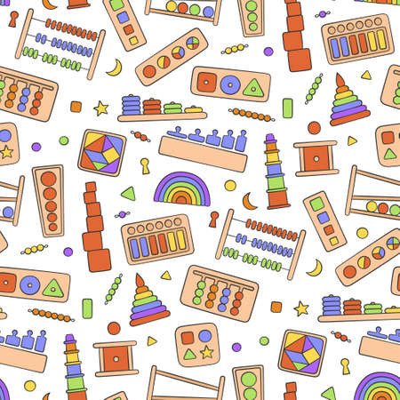 Hand drawn kid toys for Montessori games. Education logic toys for preschool children. Montessori system for early childhood development. Seamless pattern in doodle style on white background Иллюстрация