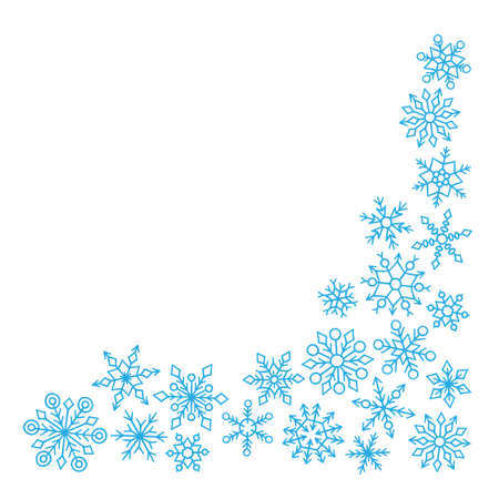 Frame with cute hand drawn winter snowflakes on white background. Vector illustration in doodle style Иллюстрация