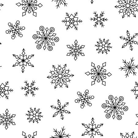 Seamless pattern with winter snowflakes. Hand drawn snowfall texture. Vector illustration in doodle style on white background.