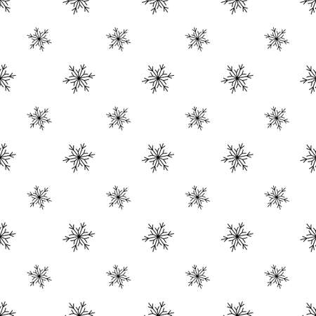 Snow seamless pattern. Winter snowflakes texture. Vector illustration in doodle style on white background
