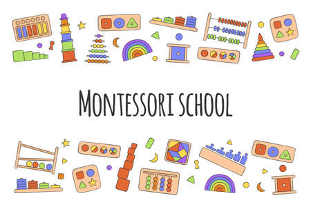 Flyer with kid toys for Montessori games. Education logic toys for preschool children. Hand drawn vector illustration on white background
