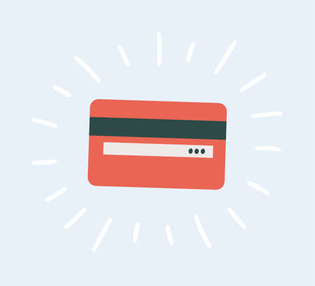 Back side of a plastic credit card in flat and cartoon style. Hand drawn vector illustration Иллюстрация