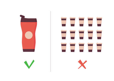 Reusable coffee cup vs single use cup. Takeaway mug and tumbler on zero waste poster. Eco concept. Vector illustration in flat style on white background. Иллюстрация