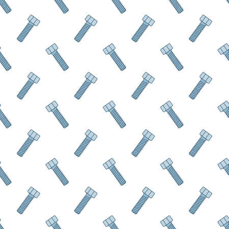 Seamless pattern with screws. Texture with hand drawn bolts. Vector illustration in doodle style on white background