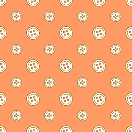 Seamless pattern with clothing buttons. Vector illustration in doodle style on orange background