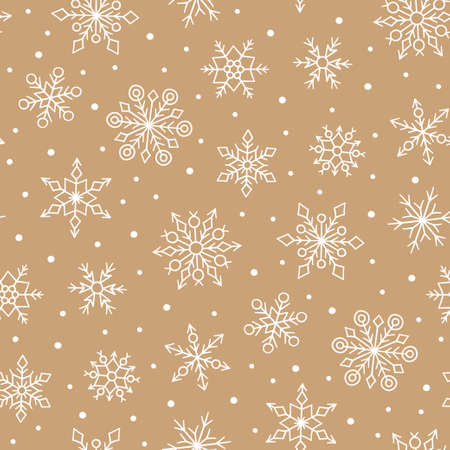 Gold seamless pattern with cute snowflakes. Hand drawn snow texture. Vector illustration in doodle style