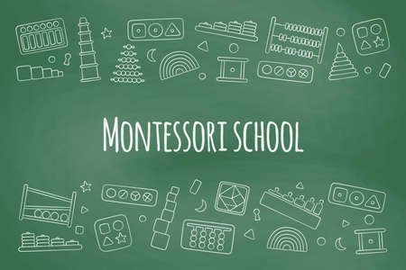 Flyer with kid toys for Montessori games. Education logic toys for preschool children. Vector illustration in doodle style on school board background Иллюстрация